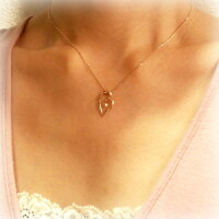 K10ゴールド(PG・WG・YG)ダイヤモンド(0.02ct)オープンハートペンダントネックレス【送料無料】洗練された大きめオープンハートの中央に可愛い天然ダイヤモンドがキラリby原宿ジュエリーオペラ