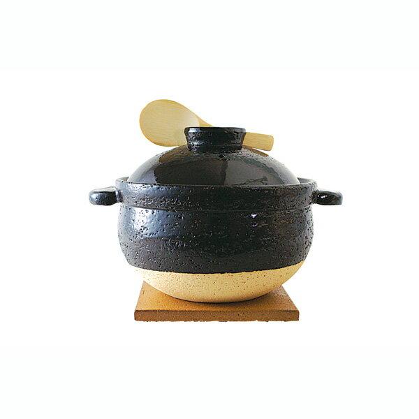 長谷園 かまどさん 五合炊き 土鍋 2500ml ブラック CT-50 igazzz 【ギフト袋 対象】