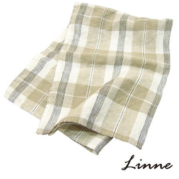 キッチンタオル チェック ベージュ×ブラック リンネ(Linne)