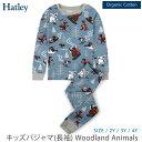 Hatley オーガニックコットン キッズパジャマ(長袖) Woodland Animals | キッズ 長袖 パジャマ 男の子 女の子 子供 上下セット オーガニック コットン 下着 綿100% ルームウェア おしゃれ かわいい 敏感肌 100 110 120 130