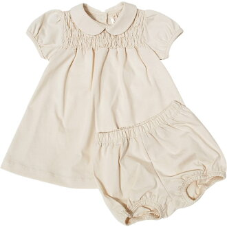 NATURAPURA有機棉布嬰兒燈籠褲在的短袖剪斷連衣裙(有機棉布嬰兒用品有機連衣裙嬰兒連衣裙束腰長上衣分娩祝賀回敬嬰兒)