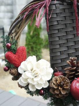 クリスマスリース 屋外 玄関 プリザーブドフラワー 花材 「送料無料 りんごちゃん」 玄関 クリスマス プレゼント 誕生日 結婚お祝い 開業開店 記念日 土台 壁掛け 還暦祝い