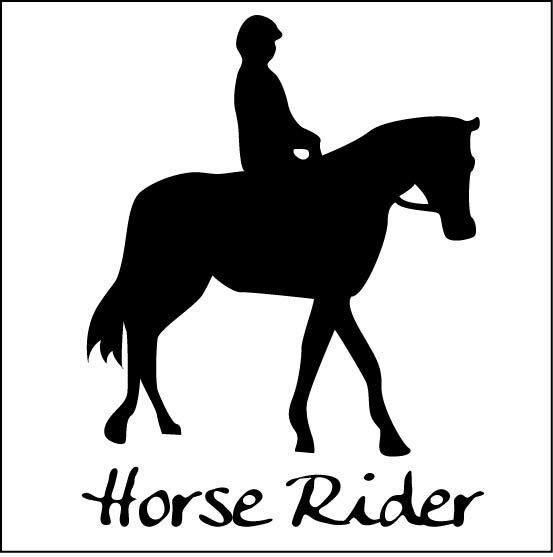 オシャレなシルエットステッカー乗馬スタイルステッカーB 20cm選べるカラー10種類 防水 アウトドア 屋外対応 カッティング シール 転写 傷隠し 楽天 通販