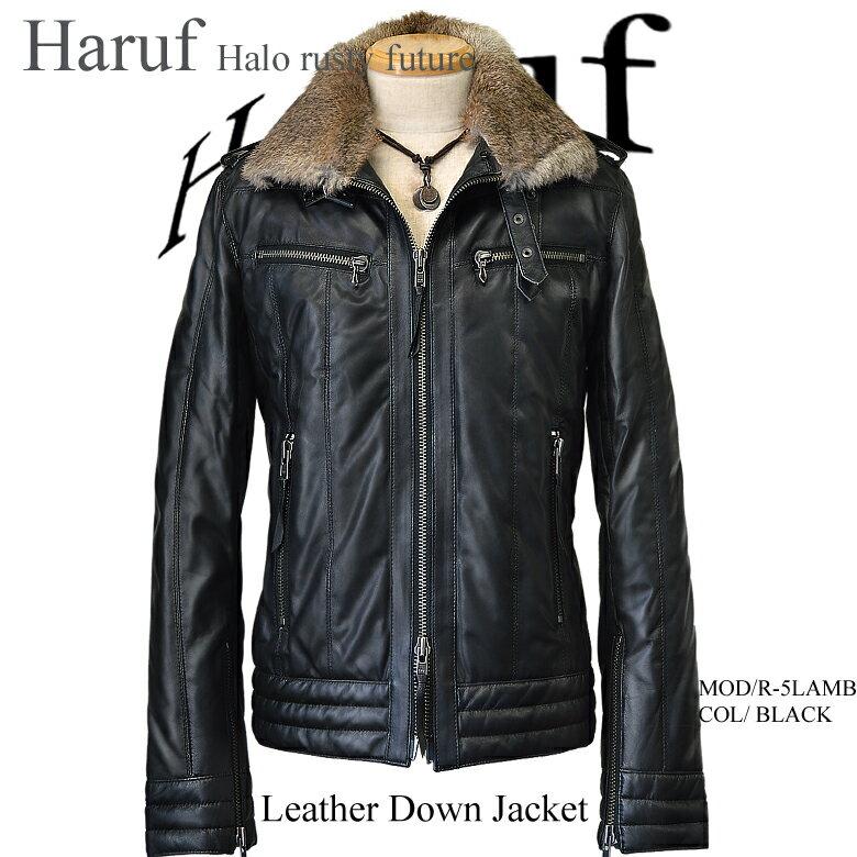 レザーダウンジャケット 本革 ラムレザージャケット メンズ シングルライダースジャケット 革ジャン 革ジャケット R5LBK:本革レザージャケットのハルフ