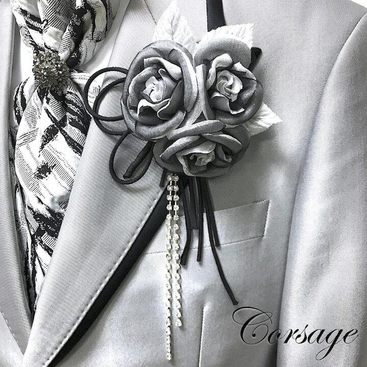 メンズジュエリー・アクセサリー, ラペルピン  Black Silver rose MT-COS18005