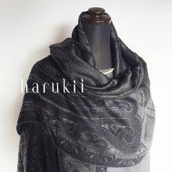 harukii/シルクカシミヤ大柄ペイズリージャカードストールエボニー