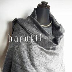 harukii/シルクカシミヤ大柄ペイズリージャカードストールグレー