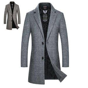 チェスターコート ウールコート ロングコート 中綿 ロング ジャケット コート メンズ アウター ビジネス カジュアル チェック 細身 スリム 暖か 冬服