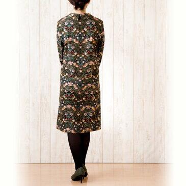 moda Japan ウィリアム・モリス ストロベリー・シーフ 仕立て スクエアネックカラー ワンピース〔国内送料無料〕