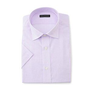 ワイシャツ メンズ Yシャツ カッターシャツ 半袖 形態安定 パープル 春夏 COOLBIZ ポリエステル ワイド 特価 メンズファッション スーツのはるやま