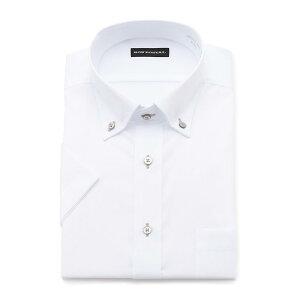 格安 形態安定 半袖ワイシャツ RON POSTAL 白ドビー ボタンダウン クールビズ