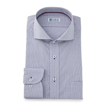 ワイシャツ メンズ Yシャツ カッターシャツ 長袖 形態安定 ストレッチ 無地 ブルー 通年 綿 スタンダード ワイド I.B.S アイビーエス メンズファッション スーツのはるやま