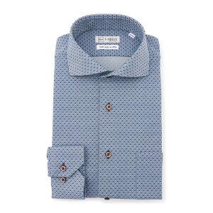 ワイシャツ 長袖 カッタウェイ ネイビー 水玉ジャガード アイシャツ 超形態安定 完全ノーアイロン ストレッチ 消臭 防汚 抗菌 吸汗速乾 ニットシャツ