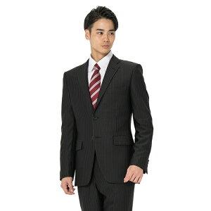 【9,000円】スーツ メンズ 背広 メンズスーツ 2つボタン 2ピース 上下ウォッシャブル ノータック ストレッチ ニット素材 ストライプ ブラック 春夏 ポリエステル スタンダード I.B.S ニットスーツ メンズファッション スーツのはるやま