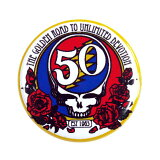 【 GRATEFUL DEAD グレイトフルデッド 50周年ロゴ 缶バッチ 】スカル ガイコツ アクセサリー アメカジ ロック バンド バッグ アウター アクセント コーデ