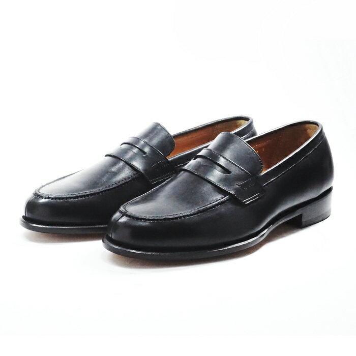 【送料無料】サンプル品 アウトレットセール メンズ ローファー ビジカジ カジュアルシューズ 紳士靴 革靴 BLACK ブラック サイズ7.5inch(25.5cm)