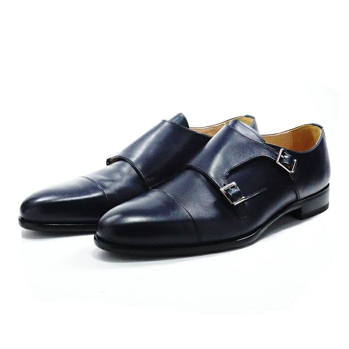 【送料無料】サンプル品 アウトレットセール メンズ ダブルモンクストラップ ビジネスシューズ ドレスシューズ 紳士靴 革靴 NAVY ネイビー サイズ9inch(27.0-27.5cm)