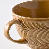 ローズマリーコハクスープカップ【波佐見焼き】石丸陶芸ミニョン彫りギフト無料ラッピングプレゼント北欧風大きめ茶色