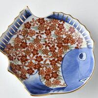 桜詰鯛型小皿【波佐見焼き】石丸陶芸林九郎窯オリジナル商品です。お目でたい文様の上品な赤絵のお皿ギフト、お祝いの席に最適!