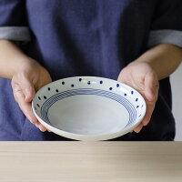 ドットライン丸皿・大【波佐見焼き】お買い得格安石丸陶芸ミニョンギフト無料ラッピング北欧風かわいい