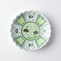 皐月(satsuki)15cmプレートmoegi・青【波佐見焼】石丸陶芸ミニョン古伊万里