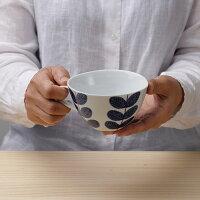 aobaスープカップ【波佐見焼き】石丸陶芸ミニョンあおば青葉北欧風染め付けギフト無料ラッピング手書き手描き葉っぱ