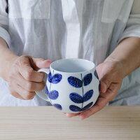 aoba樽型マグカップ【波佐見焼き】石丸陶芸ミニョンたっぷり大きめ北欧風ギフト無料ラッピング手書き手描き葉っぱ