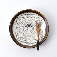 民芸とちり17cm丸皿・茶【波佐見焼】