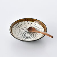 民芸とちり15cm深取皿茶【波佐見焼】