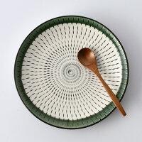 民芸とちり20cm丸皿・緑【波佐見焼】