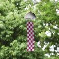 インテリア風鈴シングルウインドチャイム陶器磁器やきものモダンで美しいデザイン日本の伝統技法千筋柔らかく優しい音色短冊は伝統模様の市松模様風通しを良く風の流れを見る微風でも好く鳴る工夫エアコンをかけても窓を開けて換気を確認