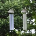 インテリア風鈴ツイン縞ハーモニックウインドチャイム陶器磁器音の高さの違いのハーモニーモダンで美しいデザイン日本の伝統技法千筋柔らかく優しい音色短冊は伝統模様の縞模様風通しを良く風の流れを見る微風でも好く鳴る工夫
