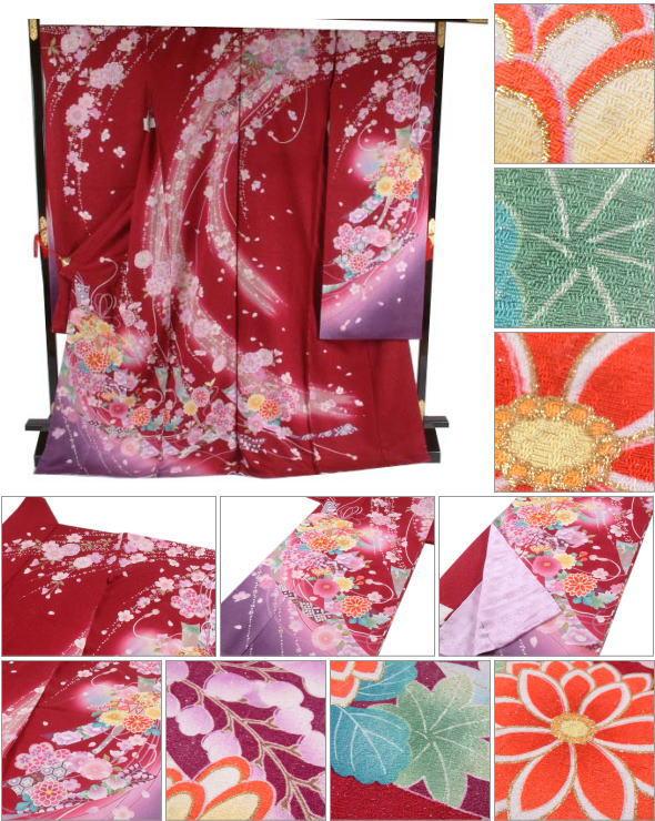 振袖八重桜や菊や鞠(赤)