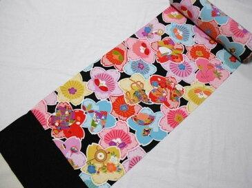 小紋反物 正絹 黒地花柄 七五三 十三祝い 日本製 未仕立て 7歳 7才 送料無料