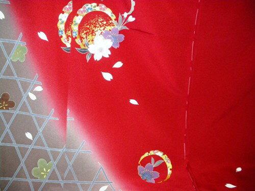 正絹振袖 赤 丹後ちりめん 在庫処分品 無地八掛付 日本製 未仕立て