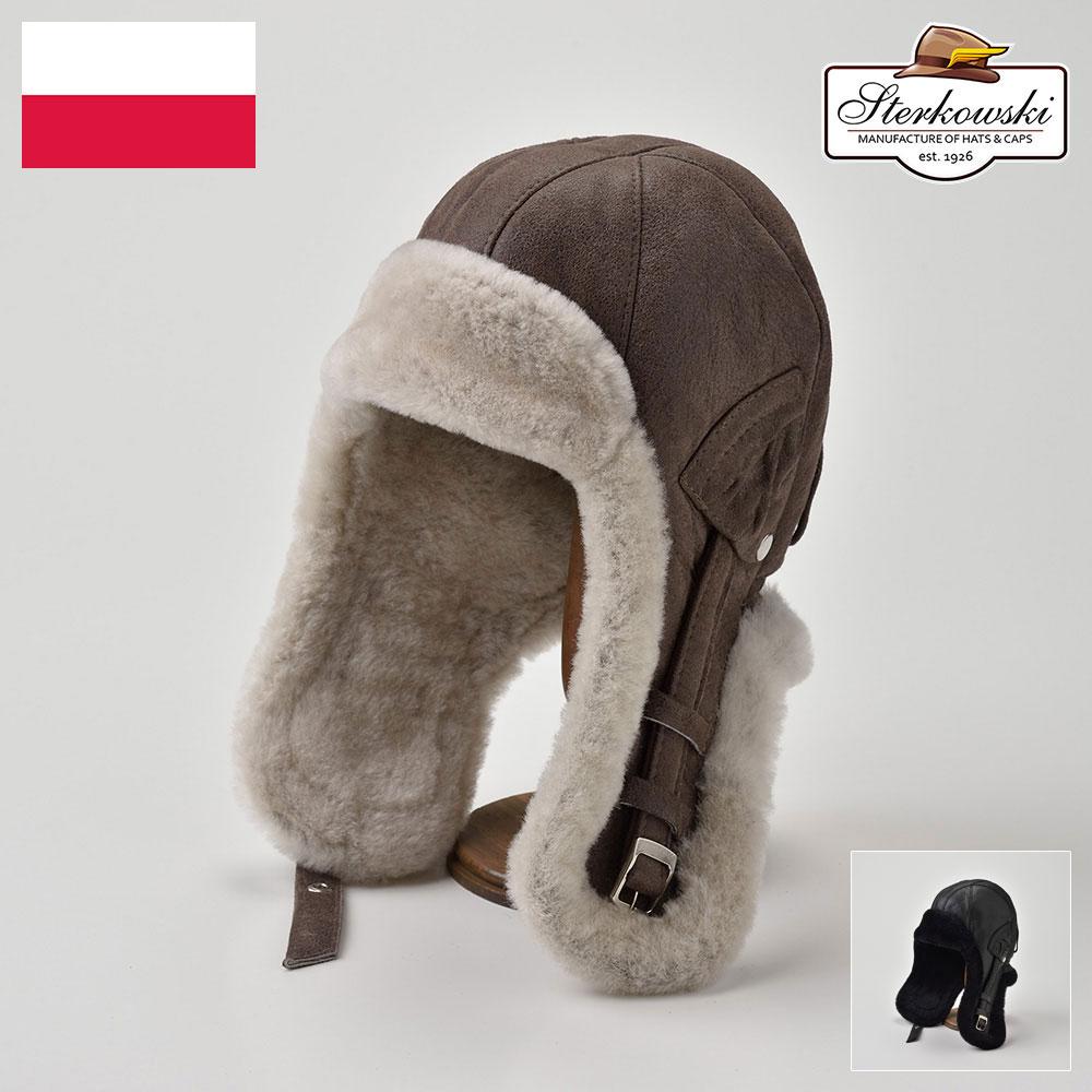 【飛行帽(フライトキャップ)/Sterkowski(ステルコフスキー)】Delling(デリング)≪高品質な本革にこだわったポーランド製のパイロットキャップ(ボンバーキャップ)メンズ/レディース/紳士/帽子/ハット/大きいサイズ/父の日ギフト/あす楽≫
