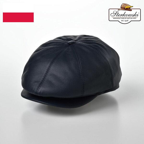 レザーキャスハンチングメンズ本革ブランド秋冬帽子牛革ポーランド製ハンチング帽キャスケット帽ハンチングキャス紳士帽大きいサイズ56
