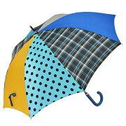傘レディース長傘雨傘60cm×8本骨+RING手開き式レディース傘[HATCHI/m968]ブルー調タータンチェックラッピング無料母の日ブランドおしゃれかわいい誕生日あす楽送料無料修理可