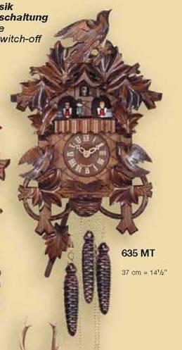 鳩時計 壁掛け時計 ハト時計 はと時計 ポッポ時計 一日巻き鳩時計635MT おもり式 高さ:約37cm:森の時計ストア
