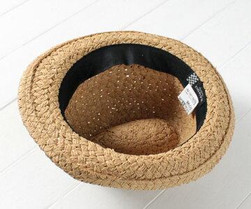 送料無料NAMIKI編込みペーパーマニッシュ中折れハットストローハット中折れ帽子麦わら帽子ハット紫外線対策UVケア日よけサイズ調整フェスライブレディース女性春夏ナミキ31-319帽子