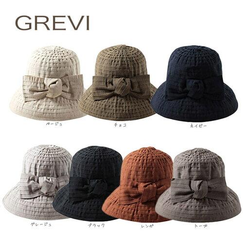 送料無料 GREVI グレヴィ 前リボンブレードハット イタリア製 つば広ハット つば広帽子 リボン付き...