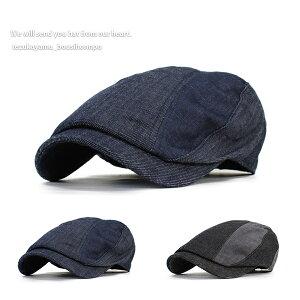 ハンチング メンズ 帽子 Vintage デニム コンビ ライン 春夏 秋冬 トレンド 人気 おしゃれ 父の日 贈り物 プレゼント