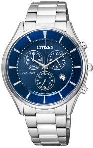 【 安心の正規品 保障付き 】 シチズン エコドライブ クロノグラフ 薄型 スリム 腕時計 メンズ AT2360-59L