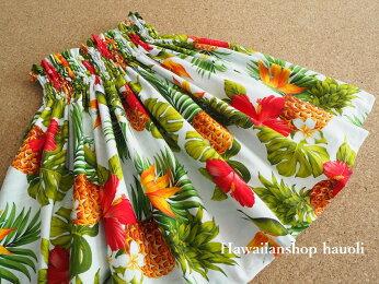 【送料無料】パウスカート子ども【630】パイナップル柄ホワイト白クリームハワイハワイアンファブリック子供こどもケイキフラフラダンススカート衣装♪