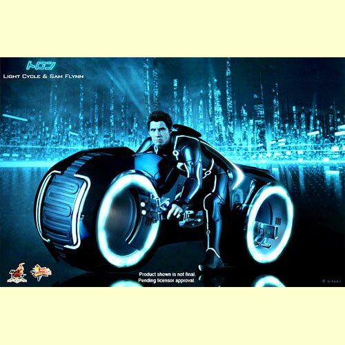 """A hot toys movie masterpiece """"Tron :"""" Vehicle with the Legacy light cycle & Sam Flynn 1/6 scale light up function"""
