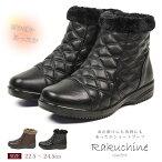 【送料無料】Rakuchinecomfort超軽量キルティングスムースあったかファーブーツレディースショート黒ジッパー付きショートブーツレディース厚底冬ローヒールムートンブーツカジュアルシューズミセス靴541-144