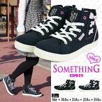 【送料無料】SOMETHINGEDWIN子供靴おしゃれハイカットスニーカーキッズ女の子ジュニアカジュアルシューズサイドゴアキャンバススニーカーレディースSOM-3091