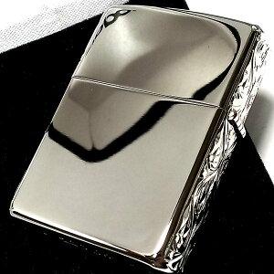ZIPPOアーマージッポライター限定3面手彫り唐草プラチナ鏡面仕上げシルバー金タンクかっこいい重厚高級メンズレディースギフトプレゼント