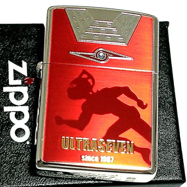 ZIPPOライターウルトラセブンジッポレッド&シルバー裏面アイスラッガーかっこいいおしゃれ赤銀ラインストーン円谷プロウルトラマン