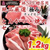 贈答用絶品厳選『極み』チョイスシリーズ:とんかつ・焼肉セット1.2kg